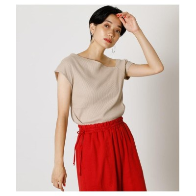 (AZUL by moussy/アズールバイマウジー)ASYMMETRY SHOULDER RIB TOPS/レディース L/BEG1
