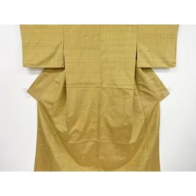 宗sou 未使用品 格子に抽象模様手織り紬着物【リサイクル】【着】