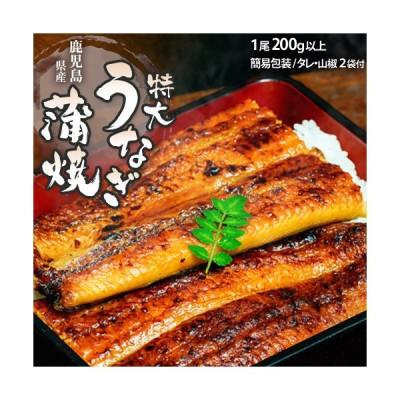 鹿児島県産 大新うなぎ 長時間蒸し「超特大ウナギ蒲焼」 1尾 約200g以上 タレ・山椒×2袋 送料無料