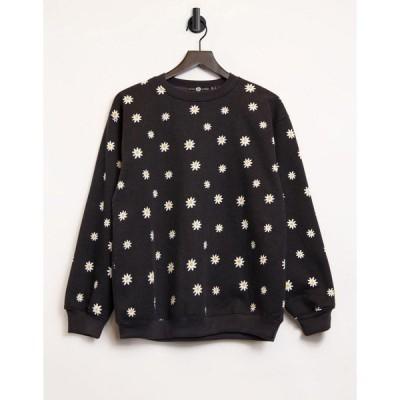 デイジーストリート レディース パーカー・スウェットシャツ アウター Daisy Street relaxed sweatshirt in daisy print - part of a set Black