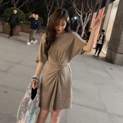 ロングTシャツ ワンピース レディース ファッション 春新作 綿 ドレス スカート ゆったり 五分丈 プリント ヒップライン カバー 日常