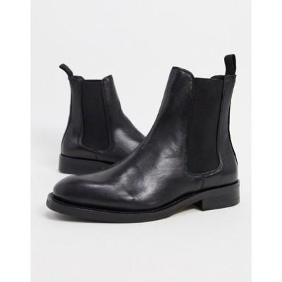 セレクティッド レディース ブーツ・レインブーツ シューズ Selected Femme leather chelsea boots in black