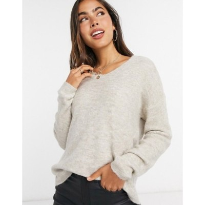 ヴェロモーダ レディース ニット・セーター アウター Vero Moda v neck sweater in cream