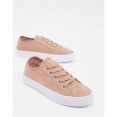 エイソス レディース スニーカー シューズ ASOS DESIGN Dizzy lace up sneakers in warm beige Warm beige