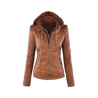 Showlovein レディースライダースジャケット合成皮革 ジャケットフードパーツは着脱可能、長袖チャック付けレディージャケッ(ブラウン L)