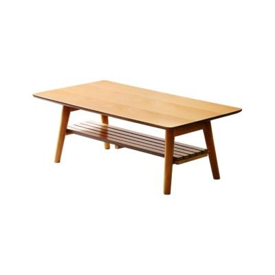 木のぬくもりを感じられる折りたたみ式テーブル(棚付) ローテーブル・リビングテーブル, Tables(ニッセン、nissen)