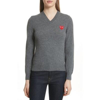コム デ ギャルソン COMME DES GARCONS PLAY レディース ニット・セーター Vネック トップス Wool V-Neck Sweater Grey