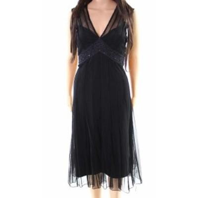 ファッション ドレス Jkara NEW Black Womens Size 6 Beaded Illusion V-Neck Sheath Dress