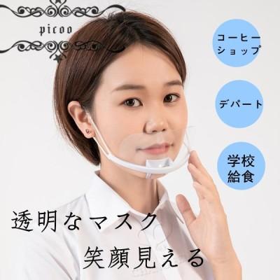 透明マスク マスク 衛生マスク 10個入 飲食店 接客 美容 医療 育児 炊事 飛沫防止 唾液防止 抗菌 曇り防止 潤み防止 笑顔保持 笑顔見える 曇り難い