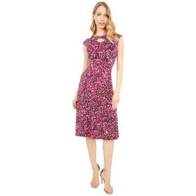 ロンドンタイムス ワンピース トップス レディース Festive Dot Jersey Fit-and-Flare Dress Black/Cranberry