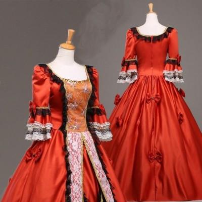 レッドドレス 蝶ネクタイ 長裾 豪華 コスプレ衣装 パーティードレス ウェディングドレス ヨーロッパ風 貴婦人 女王服 da199f0z7