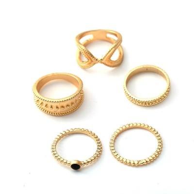 [ゴールド]5個のボヘミアン指輪セット女性のためのラウンド幾何学的なリングファッションジュエリー