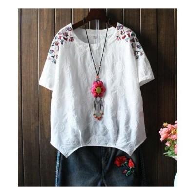 レディースtシャツエスニック風ナチュラルリネン綿麻ゆったり半袖シャツブラウスTシャツ2枚送料無料森ガール風カジュアルトップス刺繍 可愛い花