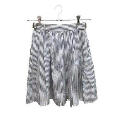 【中古】ドゥーズィエムクラス DEUXIEME CLASSE スカート フレア ひざ丈 ストライプ 36 白 ホワイト /KB レディース