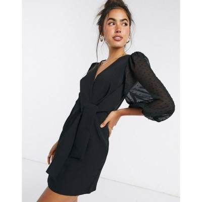エイソス レディース ワンピース トップス ASOS DESIGN wrap front mini dress with dobby puff sleeves in black Black