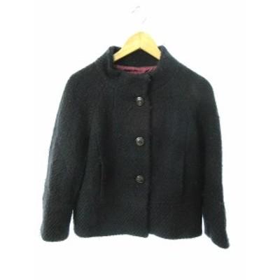 【中古】トゥモローランドコレクション ジャケット スタンドカラー ニット ウール 38 黒 ブラック /TM22 レディース