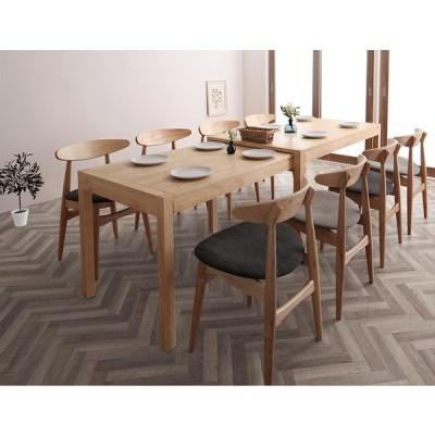 スライド伸縮テーブル ダイニングセット 9点セット(テーブル W135-235 × 奥行80 × 高さ72cm+チェア8脚) セット