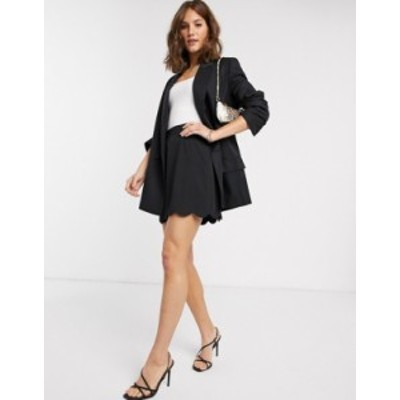 エイソス レディース スカート ボトムス ASOS DESIGN tailored a-line mini skirt with scallop hem Black