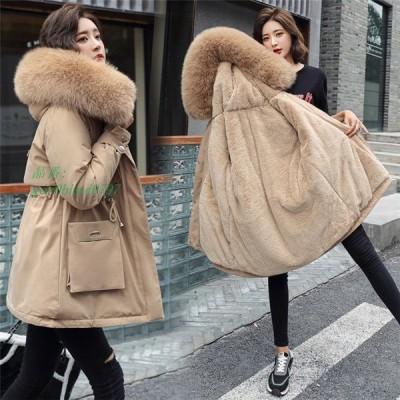 コート 暖かい レディース ショートコート モッズコート ジャケット ファーコート 冬 ボアコート ファー もこもこ フェイクファー付 防寒 フード付き アウター