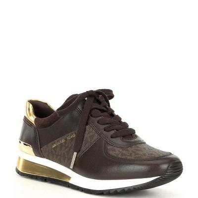マイケルコース レディース スニーカー シューズ MICHAEL Michael Kors Allie Wrap Logo Leather Trainers Brown