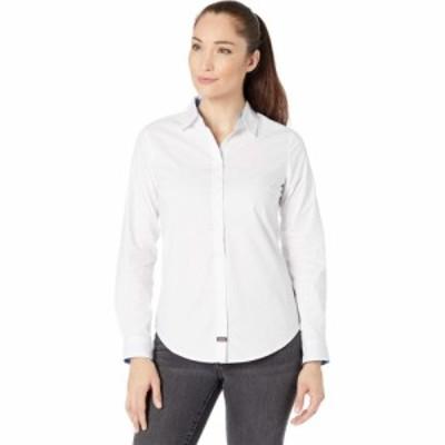 ユーエスポロアッスン U.S. POLO ASSN. レディース ブラウス・シャツ トップス Long Sleeve Solid Stretch Poplin Shirt Optic White