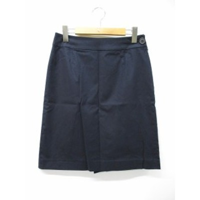 【中古】ナチュラルビューティーベーシック NATURAL BEAUTY BASIC コットン タイト 膝丈 スカート L ネイビー