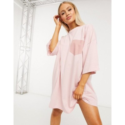 エイソス レディース ワンピース トップス ASOS DESIGN oversized t-shirt dress with patch pocket detail in pink