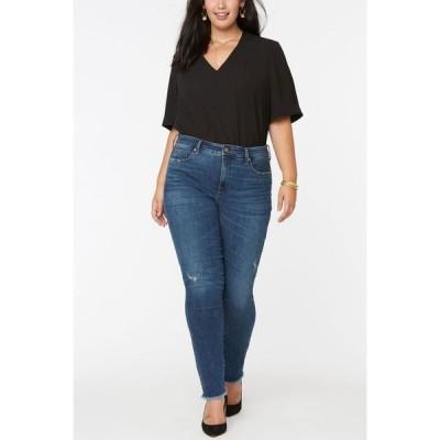 エヌワイディージェイ レディース デニムパンツ ボトムス Women's Plus Size Alina Skinny Jeans with Frayed Hems