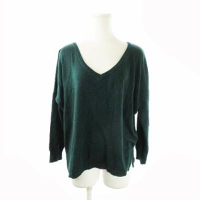 【中古】アズールバイマウジー AZUL by moussy ニット セーター Vネック 長袖 オーバーサイズ ウール混 S 緑 グリーン