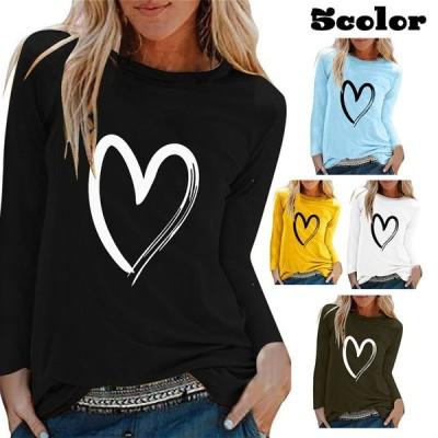 長袖Tシャツトップスレディースカットソーラウンドネック手描き風ハート柄かわいいおしゃれ定番シンプルデイリーカジュアル