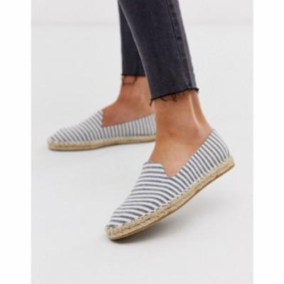 エイソス ASOS DESIGN レディース エスパドリーユ シューズ・靴 Jual espadrilles in blue stripe Blue stripe