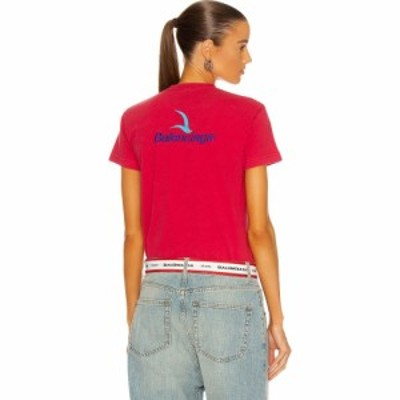 バレンシアガ Balenciaga レディース Tシャツ トップス Small Fit T Shirt Raspberry/Blue