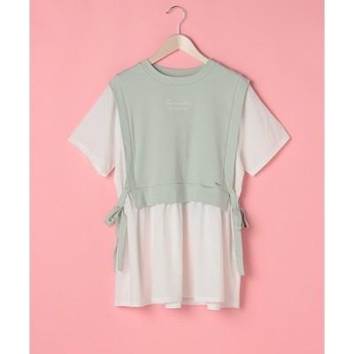 tシャツ Tシャツ サイドリボンレイヤード半袖Tシャツ