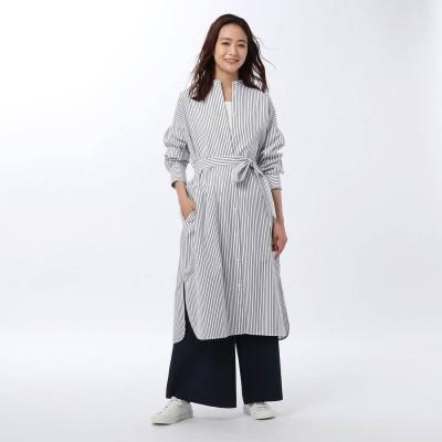 アンタイトル UNTITLED 【洗える】SRバンドカラーシャツワンピース (オフホワイト)