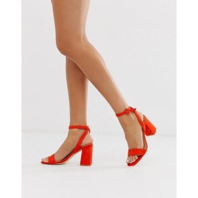 レイド レディース サンダル シューズ RAID Exclusive Wink orange square toe block heeled sandals Or1 - orange 1