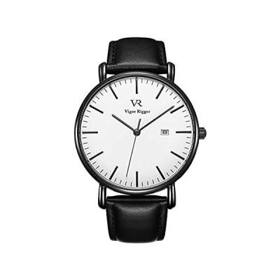 BUREI腕時計メンズファッション超薄型VR防水クォーツ天然牛革メンズウォッチバースデーギフト黒-白い