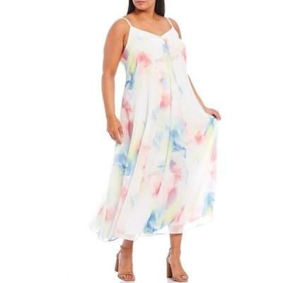 ヴィンスカムート レディース ワンピース トップス Plus Size Sleeveless Watercolor Print Maxi Dress