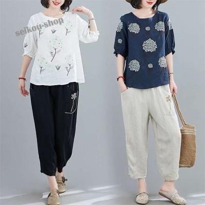 ブラウス レディース シャツ 半袖 亜麻 リネン 刺繍 プルオーバー ゆったり カジュアル 体型カバー トレロ 今年らしい着こなしに