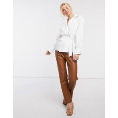 エイソス レディース シャツ トップス ASOS DESIGN cotton wrap shirt with collar in white Ivory