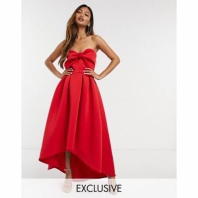 トゥルーヴァイオレット True Violet レディース ワンピース ミドル丈 ワンピース・ドレス oversized bow high low midi dress in red レ