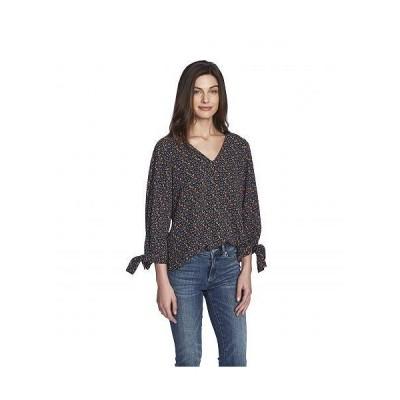 CeCe レディース 女性用 ファッション ブラウス 3/4 Sleeve Moroccan Ditsy Tie Sleeve Blouse - Rich Black