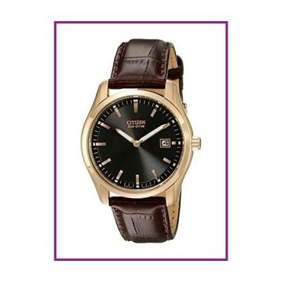 Citizen Eco-Drive Corso Quartz Mens Watch, Stainless Steel with Leather strap, Classic, Brown (Model: AU1043-00E)【並行輸入品】