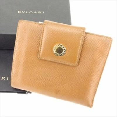 【P10倍】 【ラスト1点】 ブルガリ 二つ折り 財布 ロゴボタン ブラウン ゴールド レザー BVLGARI 二つ折りサイフ 財布 サイフ 収納 財布