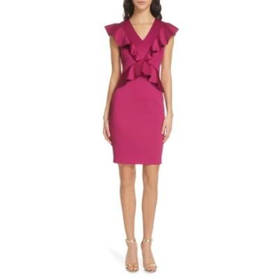 テッドベーカー レディース ワンピース トップス Alair Ruffle Body-Con Dress DEEP PINK