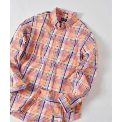 【シップス】 SERO×SHIPS JET BLUE: 別注 マドラスチェック ボタンダウンシャツ メンズ オレンジ MEDIUM SHIPS