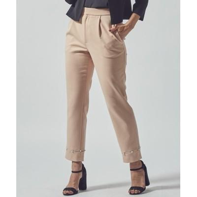 (LUSSOVIAGGIOBLU/ルッソビアッジョブルー)裾パール使いパンツ/レディース ブラック