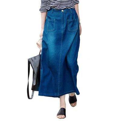 スカート デニムスカート マキシスカート デニム ロング丈 スリット 大きいサイズ ボトムス シンプルスカート レディーススカート おしゃれ