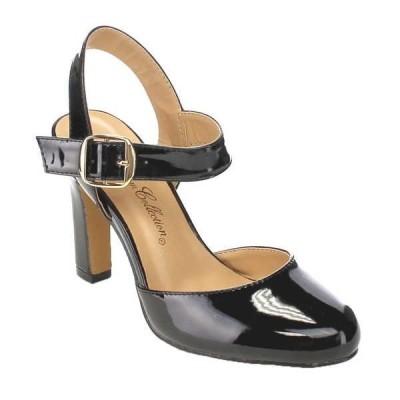 ヒール パンプス シューズ 靴  BLOSSOM レディース アンクルストラップ Sexy Chunky ヒール ドレス スライド パンプスs AMIE-1 ブラック BLACK PATENT