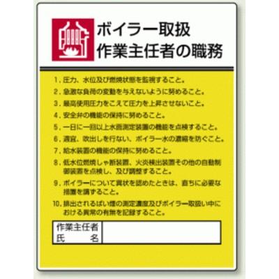 ボイラー取扱 「作業主任者職務表示板」 (安全用品・標識/安全標識)