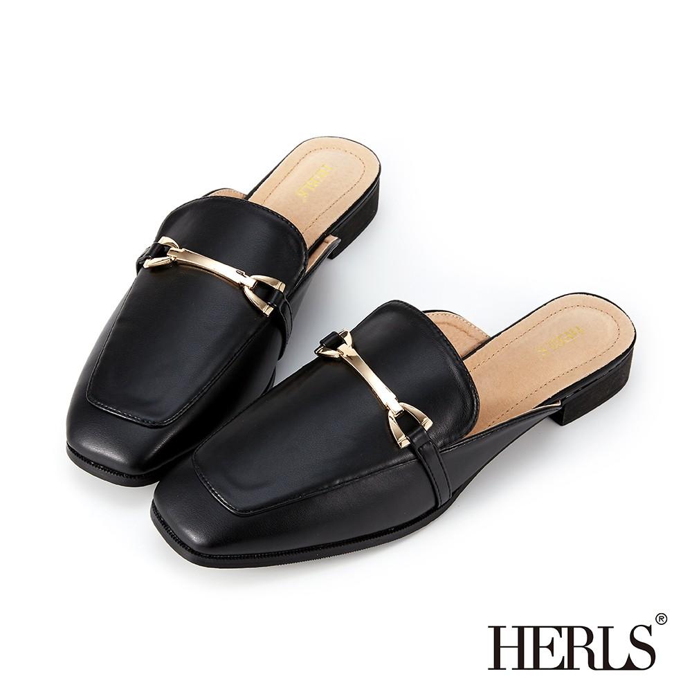 HERLS穆勒鞋 紳士品味馬銜釦方頭低跟穆勒鞋 黑色